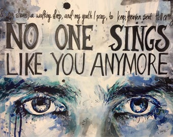 """No One Sings Like You Anymore, Original LARGE 16""""x20""""Watercolor Painting of Chris Cornell Eyes"""