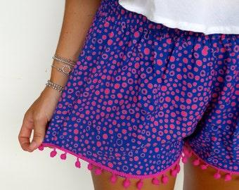 Pom Pom Shorts - Cobalt and Hot Pink Polka Dot pattern with Hot Pink Pom Pom Trim - lightweight chiffon