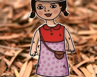 Paper Doll set - Autumn Magic theme - Play dress up with fashion accessories for children