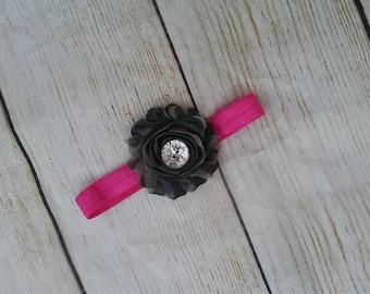Camo flower headband. Camo baby headband. Camo and pink headband. Military baby headband. Hunting baby headband