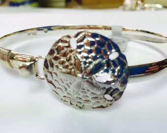 """Wire Wrapped Artisan Sterling Silver Large Sanddollar Cuff Size 7 1/2"""""""