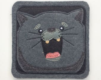 Charlie the Russian blue and happy cat. Black, dark gray, licorice, light gray wool felt fabric (1)
