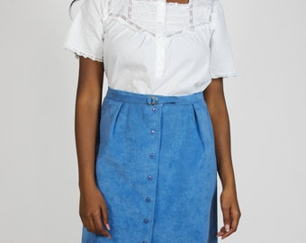 Vintage 1950s High Waisted Midi Skirt Belted Button Down Blue Suede