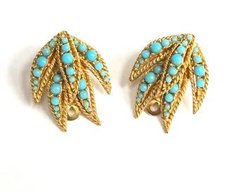 Vintage Ciner Faux Turquoise and Gold Leaf Clip On Earrings  – Ciner Jewelry – Vintage Jewelry – 1960's Jewelry