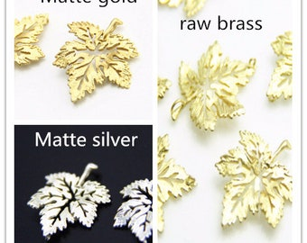 Brass filigree maple leave  30x25mm-1650-matte silver/matte gold/raw brass