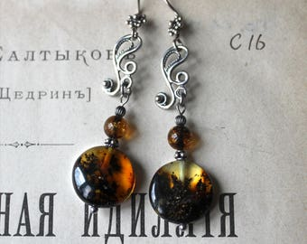 Circles of Nature Baltic Amber Earrings, Baltic amber jewelry, Natural jewelry, Boho jewelry, Bohemian jewelry, Gifts for her