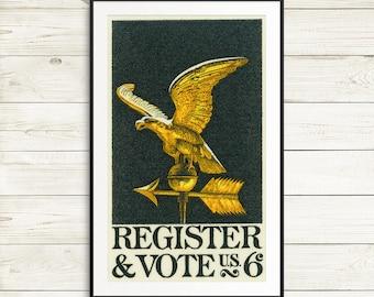 Large print: register vote, US voter registration, voter registration poster, USA voter, US elections, Usa election posters, vintage artwork