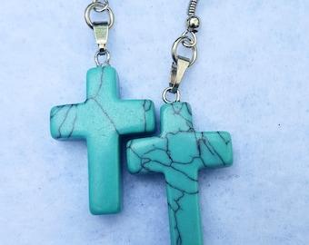 Blue Stone Cross Earrings