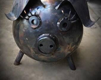 VIOLET the Metal Art Pot Belly Pig: Yard Garden Patio Porch Campsite Decor Handcrafted