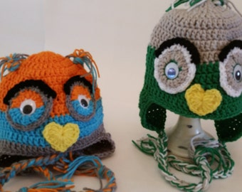 Crochet hat, Crochet Owl Hat, Crochet Character Hats, Crochet Animal Hats, Owl Hats, Ear Warmers, Earflap hats