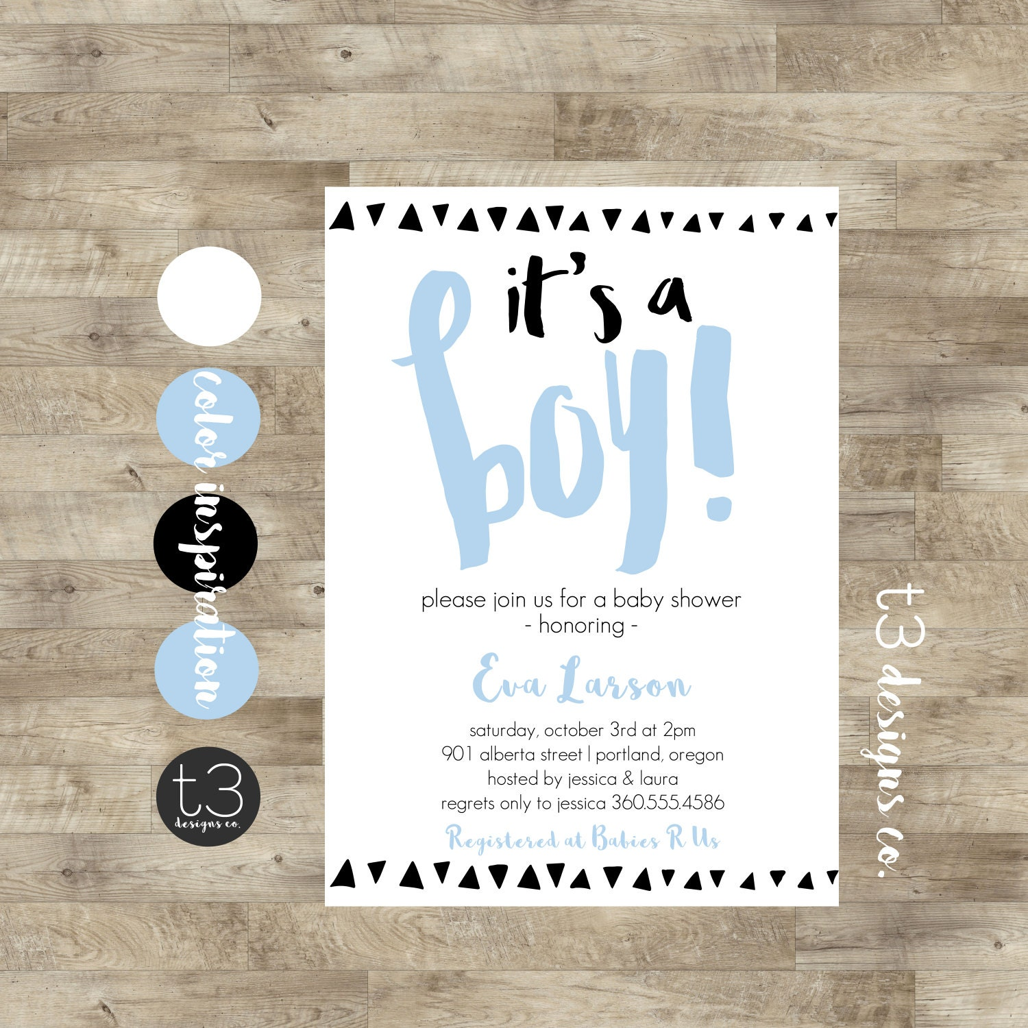 Modern BABY Baby Shower Invitation, baby shower invite, triangle ...