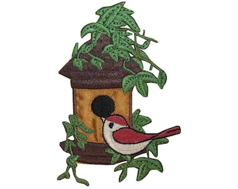 ID 3106 Bird House With Vines Patch Tree Leaf Home Embroidered Iron On Applique