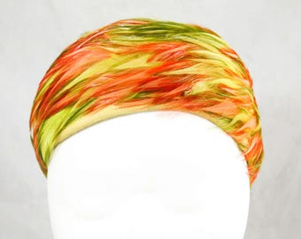 1960s Feather Pillbox Hat - Peach & Chartreuse Green Accents - 60s Spring Millinery - Orange - Apple Green - Dome Shaped Close Fit - 48917