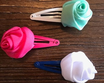 Set of 3 Multi Colored Floral Snap Clips