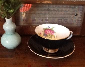 Vintage Collingwoods Bone China Teacup and Saucer Cobalt Black Gold Pink Roses