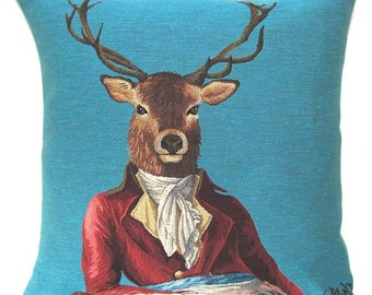 jacquard woven belgian tapestry cushion stag with costume by Fabfunky