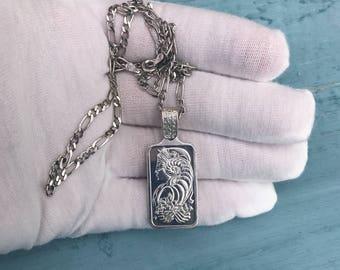 """18"""" Suisse 10g Fine Silver 999.0 Essayeur Fondeur Sterling Silver Pendant Necklace 18g"""