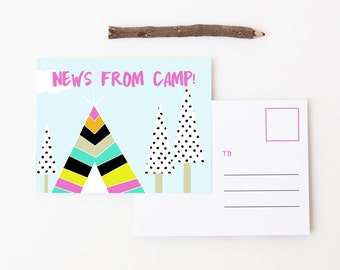 Camp Postcards Girls Summer Camp Stationary Notes from Camp Letters From Camp Note Cards Children Stationery for Kids Girl Teepee Tent