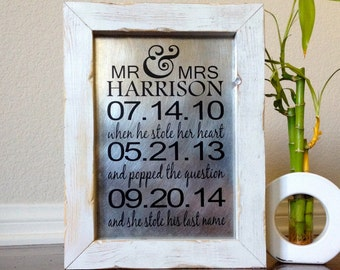 Wedding Important Dates Sign Personalized Wedding Gift