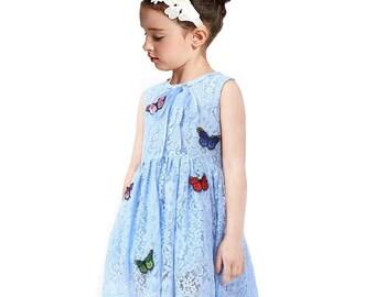 Flower girl dress lace butterfly