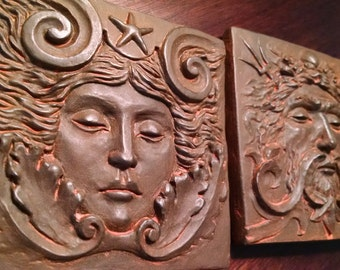 Weathered Iron finish Sea goddess tile, 4x4 inch square,women's face with swirls and starfish. grand old theater decor, by Chalifour