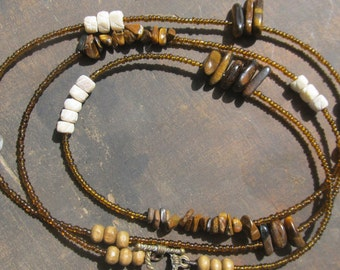 AFRICANA custom made waist beads, seed beads, Tigers Eye nuggets, natural color bone beads, wood beads, read item details and leave size