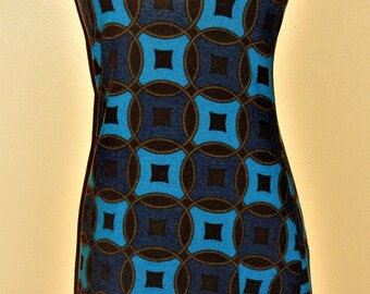 Dress 70's geometric pattern Tricolore.Turquoise indigo Brown / circles. Dress 70s colored countdown motivates. Turquoise/brown/indigo/Circles.