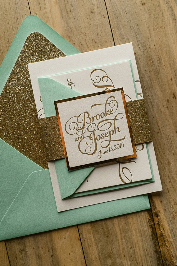 Mint Gold Glitter Wedding Invitation Gold Glitter Wedding