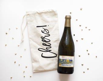 Cheers Wine Bag - Canvas Wine Tote - Wine Bag - Best Friend Gift - Wino Gift - Canvas Tote - BFF Wine Bag - Sister Gift