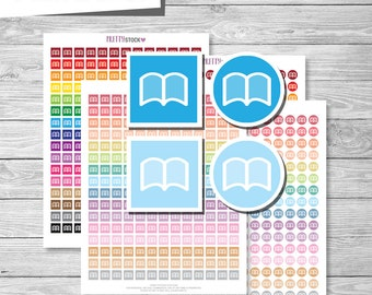 Book Stickers, Printable Book Stickers, Reading Planner Stickers, Book Appointment Stickers, Study Stickers, Printable Study Stickers - PS39