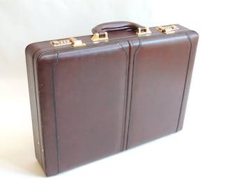 Vintage Leather Briefcase, leather attache, combination lock briefcase, laptop carrier, retro book carrier
