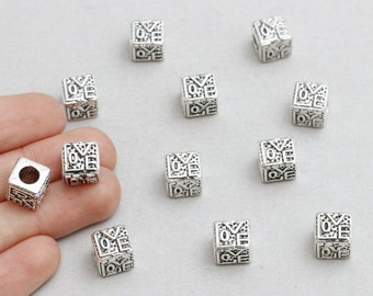 15Pieces Antique Silver Cube Beads, Love Beads, Side Drilled, 8x9mm(Approx), sku/CTN35