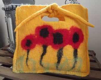 Hand Felted, Natural Wool Bag with Poppies - Made to Order