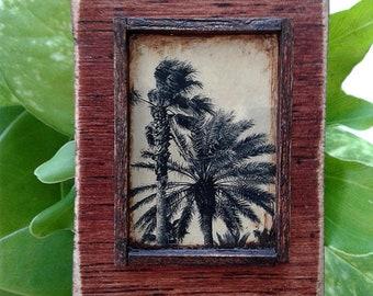 OOAK Miniature Art Piece Vintage Look Palm Tree