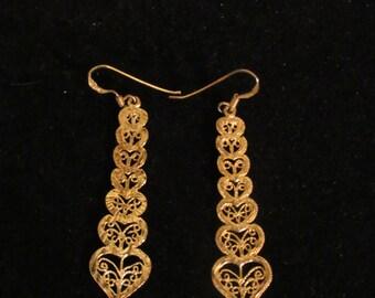 STERLING SILVER 14K GOLD Plated  Earrings,Filigree Earrings