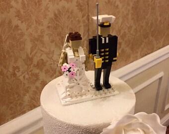 Custom LEGO® brick miniland figure Bride and Groom wedding cake topper Keepsake