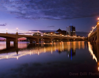 Photo Tempe Town Lake Night Reflections 2 - Fine Art