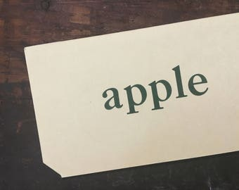 Vintage Apple Flashcard, Vocabulary Apple Flashcard, Primer Flash Card, Whitman Pre-Primer Word Card