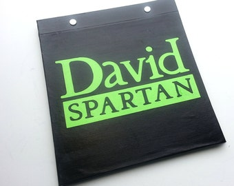 Race Bib Holder - Runner TitleType Spartan with Name Personalization -  Hand-bound Book for Runners - Black and Light Green