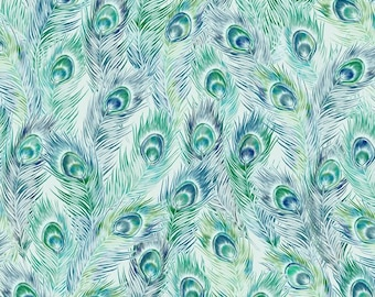 Peacock Fabric - Feather Fabric - Bohemian Manor 2 collection - In The Beginning Jason Yenter 5JYF 1 Teal - Priced by the 1/2 yard