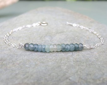 Aquamarine bracelet Gemstone bracelet March birthday gift Aquamarine jewelry Beaded bar bracelet Mos Aquamarine Bracelet Birthstone Bracelet