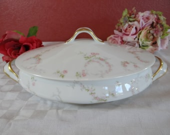 1900s Theordore Haviland Limoges France Pink Rose Covered Oval Vegetable Bowl or Dish