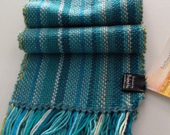 Sale: Handwoven cotton scarf in shades of the sea