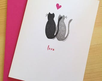 Black Cats Love Card -  Black Cats Valentines Day Card - Cats Love Card - Anniversary Card - Hand Printed Greeting Card