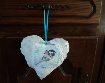 beautiful door pillow heart, bird, handmade