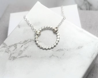 Silver Circle Necklace | Beaded Silver Circle Necklace | Open Circle Layering Necklace | Orbe Necklace | Silver Jewellery UK