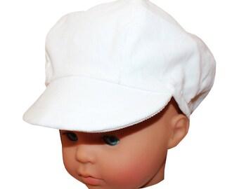 Cap newsboy toddler corduroy white fine linen