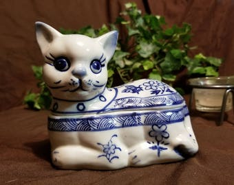 1950's Hand Painted Porcelain Blue and White Cat Figurine Jewelry Box
