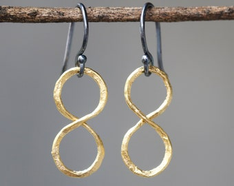 Infinity earrings in gold plated on brass with oxidized sterling silver hooks style