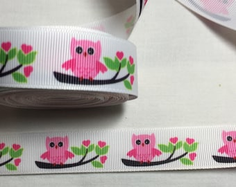 GROS GRAIN PATTERN OWLS RIBBON